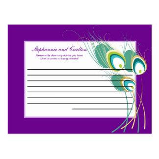 Pavo real púrpura moderno que casa la tarjeta prog tarjetas postales