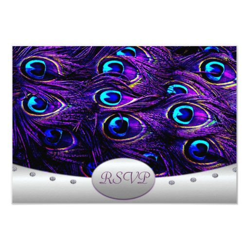 """Pavo real púrpura que casa invitaciones de boda de invitación 3.5"""" x 5"""""""