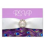 Pavo real púrpura que casa tarjetas de la invitación 8,9 x 12,7 cm