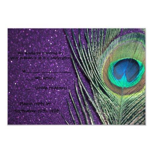 """Pavo real púrpura reluciente que casa las tarjetas invitación 3.5"""" x 5"""""""