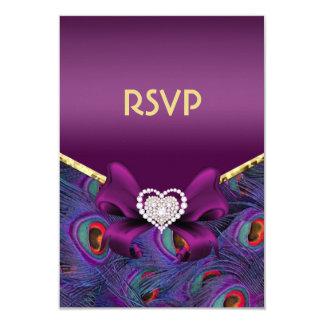 """Pavo real púrpura RSVP del ciruelo Invitación 3.5"""" X 5"""""""
