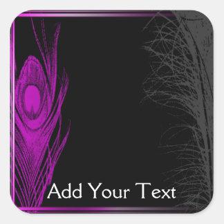 Pavo real púrpura y negro pegatina cuadrada