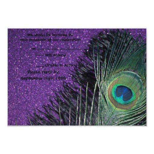 """Pavo real púrpura y negro que casa las tarjetas de invitación 3.5"""" x 5"""""""