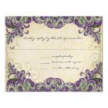 Pavo real púrpura y verde que casa RSVP Invitación 10,8 X 13,9 Cm