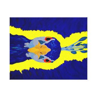 Pavo real que pinta abstracto con los ojos anaranj impresiones en lona estiradas