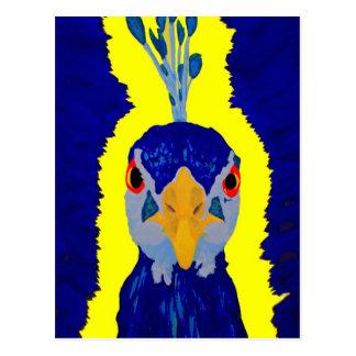 Pavo real que pinta abstracto con los ojos anaranj postal