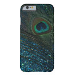 Pavo real reluciente de la aguamarina funda de iPhone 6 barely there