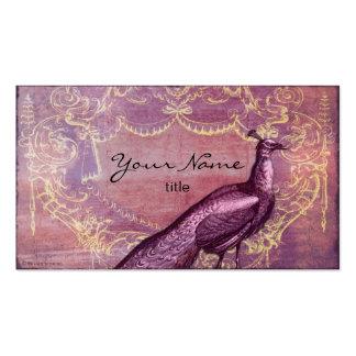 Pavo real rococó en tarjetas de visita púrpuras