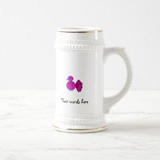 Pavo real rosado lindo tazas de café