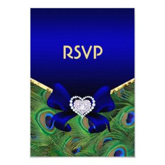 """Pavo real RSVP del azul real Invitación 3.5"""" X 5"""""""