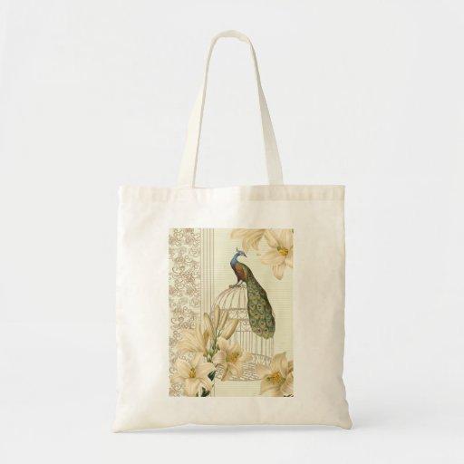 Pavo real sofisticado del birdcage del lirio del bolsa tela barata