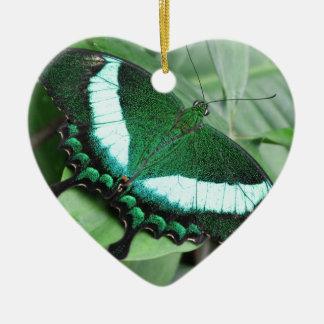 (Pavo real) Swallowtail esmeralda Adorno Navideño De Cerámica En Forma De Corazón