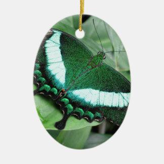 (Pavo real) Swallowtail esmeralda Adorno Navideño Ovalado De Cerámica