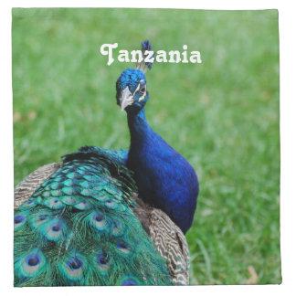 Pavo real tanzano servilletas imprimidas