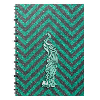 Pavo real verde del brillo libreta espiral