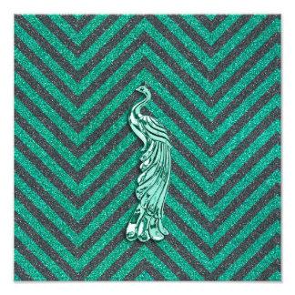 Pavo real verde del brillo arte con fotos