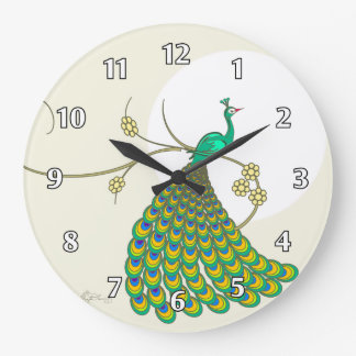 Pavo real verde elegante reloj redondo grande