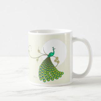 Pavo real verde elegante taza de café