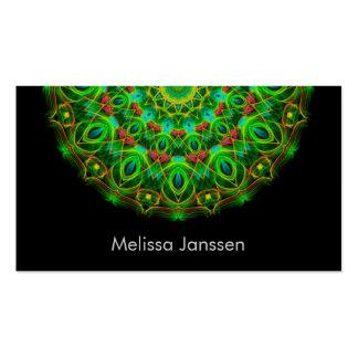 Pavo real verde - Mandala Tarjetas De Visita