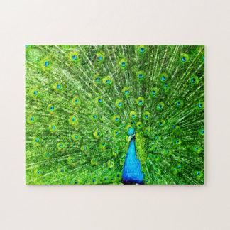 Pavo real verde y azul del impresionismo puzzle