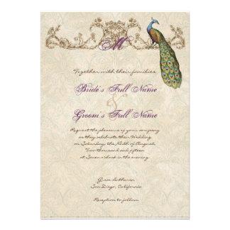 Pavo real y aguafuertes del vintage que casan la i invitacion personalizada