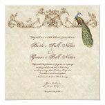 Pavo real y aguafuertes del vintage que casan la invitación 13,3 cm x 13,3cm