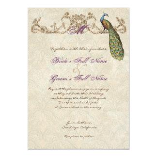 Pavo real y aguafuertes del vintage que casan la invitación 12,7 x 17,8 cm