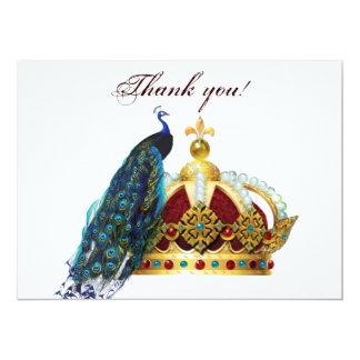 Pavo real y corona real Jeweled Invitación 13,9 X 19,0 Cm