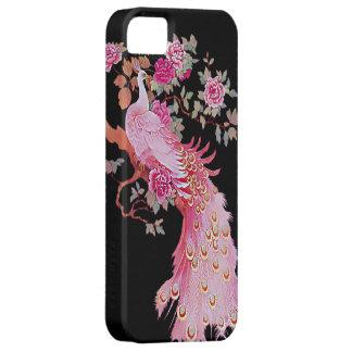 Pavo real y flor rosados bonitos del vintage iPhone 5 Case-Mate protector