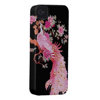 Pavo real y flor rosados bonitos del vintage Case-Mate iPhone 4 cárcasas