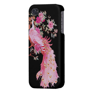 Pavo real y flor rosados bonitos del vintage iPhone 4 carcasas
