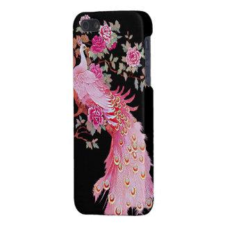 Pavo real y flor rosados bonitos del vintage iPhone 5 fundas