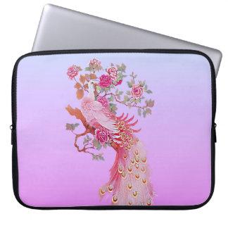 Pavo real y flor rosados bonitos del vintage manga portátil