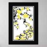 Pavo real y flores de cerezo negros, amarillos, bl impresiones