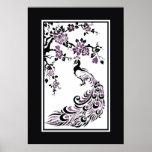 Pavo real y flores de cerezo negros, púrpuras poster