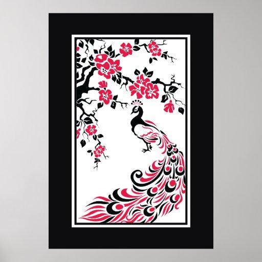 Pavo real y flores de cerezo negros, rojos, blanco poster