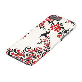 Pavo real y flores de cerezo negros, rojos funda para iPhone 6 barely there