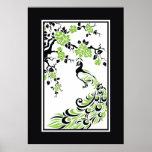Pavo real y flores de cerezo negros, verdes, blanc posters