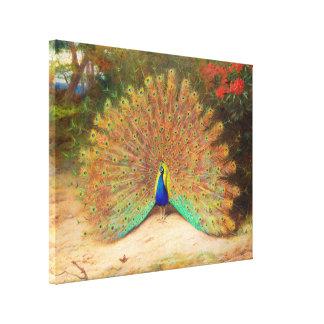Pavo real y mariposa de pavo real impresion en lona