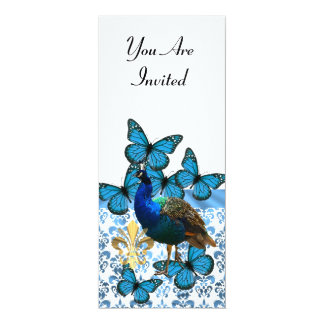 """Pavo real y mariposas azules invitación 4"""" x 9.25"""""""