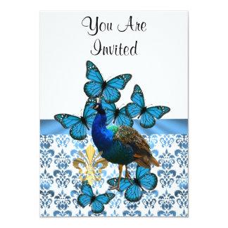 """Pavo real y mariposas azules invitación 4.5"""" x 6.25"""""""