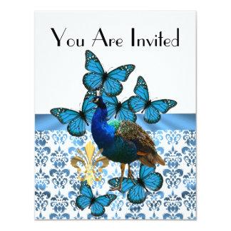 """Pavo real y mariposas azules invitación 4.25"""" x 5.5"""""""
