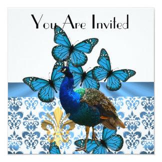 """Pavo real y mariposas azules invitación 5.25"""" x 5.25"""""""