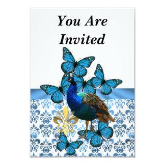 """Pavo real y mariposas azules invitación 3.5"""" x 5"""""""