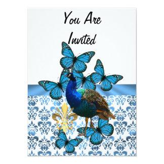 """Pavo real y mariposas azules invitación 5.5"""" x 7.5"""""""