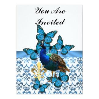 """Pavo real y mariposas azules invitación 6.5"""" x 8.75"""""""