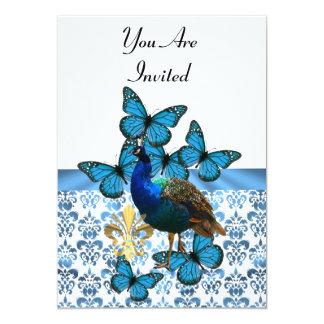 """Pavo real y mariposas azules invitación 5"""" x 7"""""""