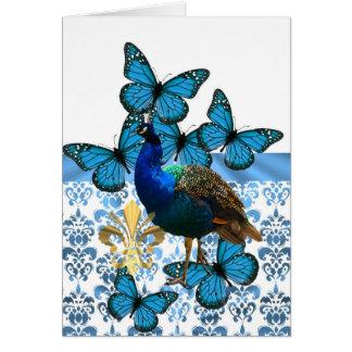 Pavo real y mariposas azules tarjeton