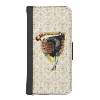 Pavo real y modelo funda tipo billetera para iPhone 5