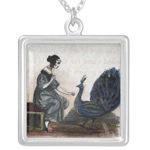 Pavo real y mujer del vintage joyerias personalizadas